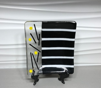 Striped Black, White and Yellow Dish