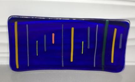 Cobalt Striped Serving Dish